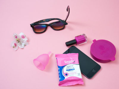 A menstrual cup among other travel essentials